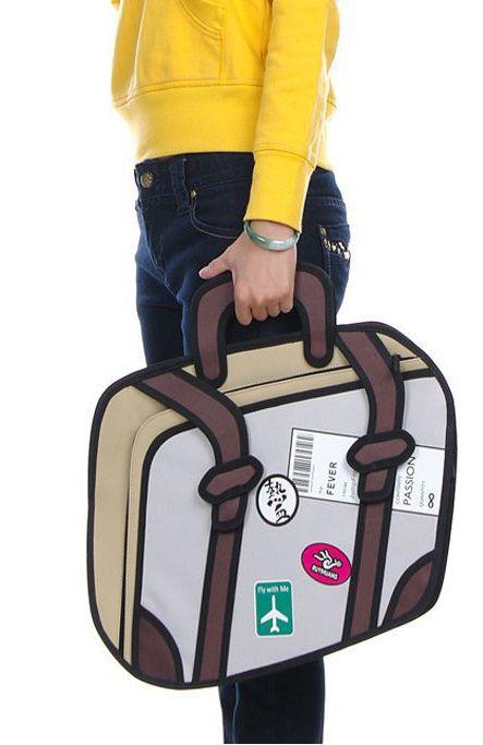 2D koffer, lijkt plat maar is het niet. Leuke actetas boor mee naar het werk.