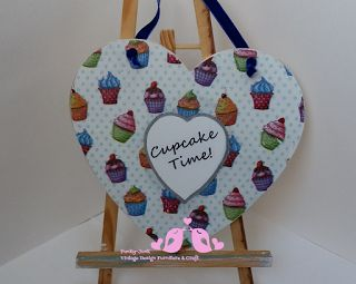 Funky-Junk Furniture Design and Craft: Cupcake Time Heart Shaped Wall Plaquette