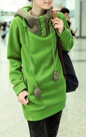 Casual Color Block Loose-Fitting Long Sleeve Hoodie For Women