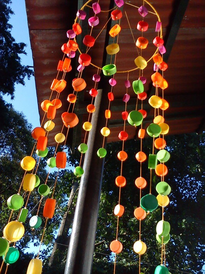 DIY-Colourful outdoor's wind-chime!---if only a person had a hundred bottle caps...