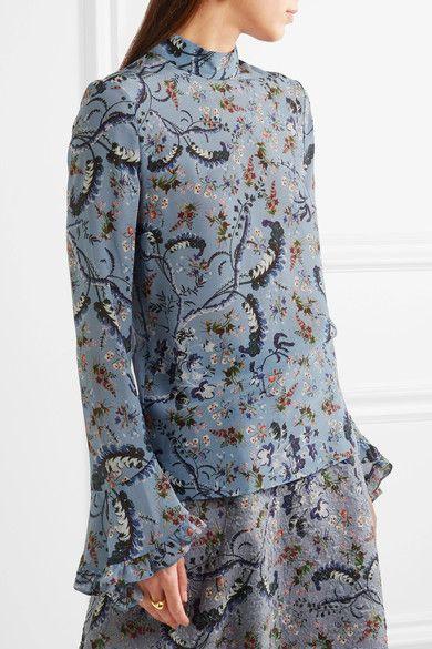 Multicolored silk crepe de chine Button-fastening keyhole at back 100% silk Dry clean Designer color: Paisley Vine