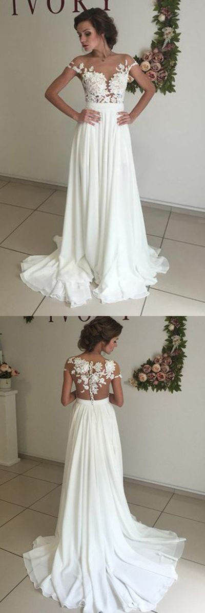 2017 wedding dresses, bridal gowns, bridal dresses, cheap wedding dresses,wedding dresses on line,Elegant V-neck Cap Sleeves Wedding Dresses with Sweep Train and Appliques,SW16