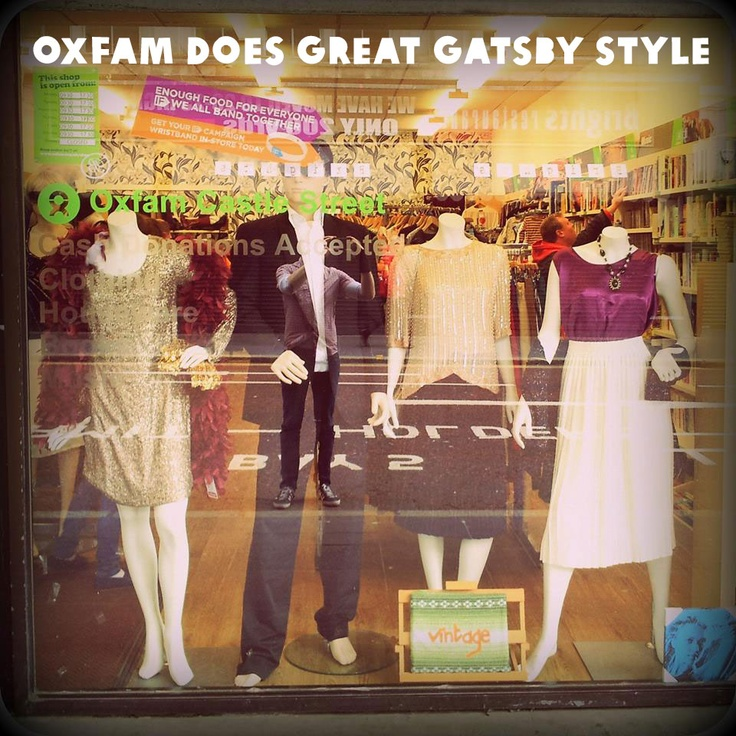 Another beautiful window design by Bronagh at our Oxfam Vintage shop, Castle Street, Belfast - inspired by a trip see The Great Gatsby.   https://www.oxfamireland.org/shop/shops-near-you  #GreatGatsby