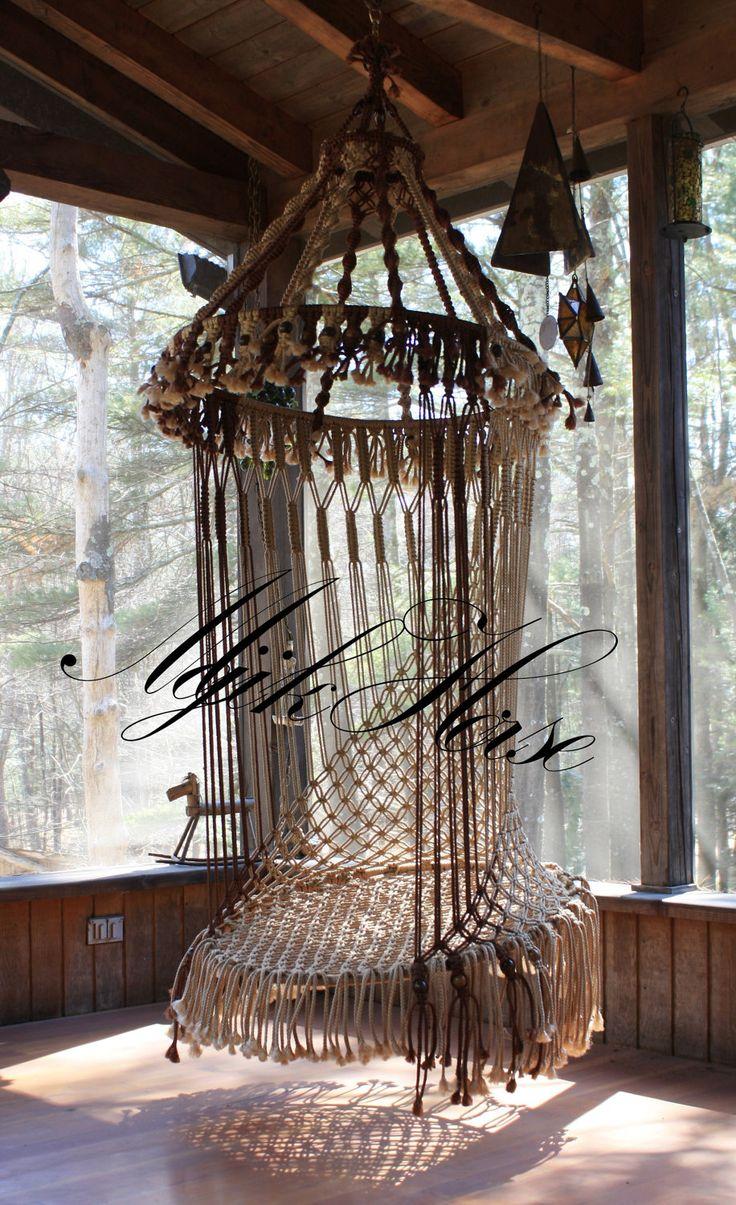 Handmade OOAK Macrame Vintage Retro Style Hanging Woodstock Hippie Elf Fairy Swing Chair as seen on HGTV Junk Gypsy series.