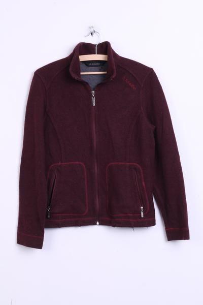 Shoffel Womens 14 L Wool Jacket Jumper Maroon Top Patch Sweatshirt - RetrospectClothes