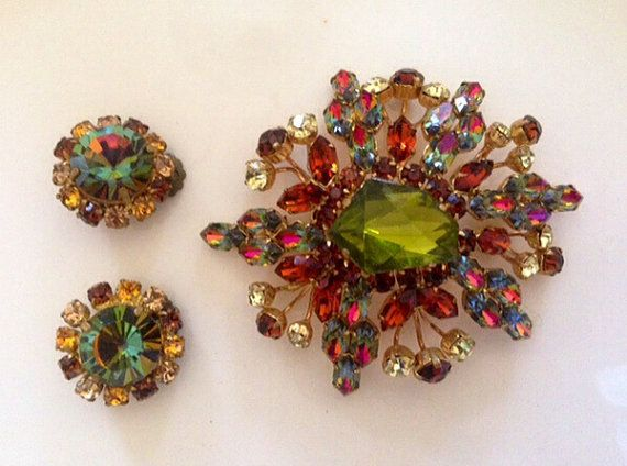 Vintage Signed Austrian Crystal Multicolored Brooch with by 4Seas, $45.00