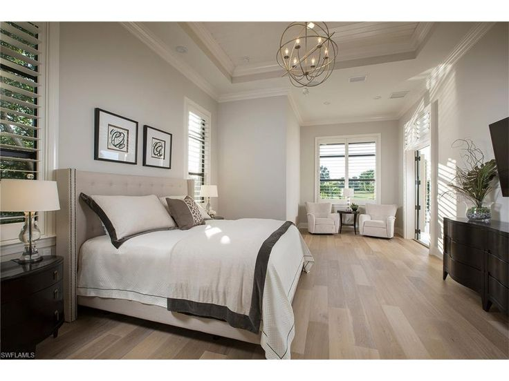 825 Wedge, Naples, FL 34103 | Coastal Contemporary Master Bedroom With  Globe Chandelier In