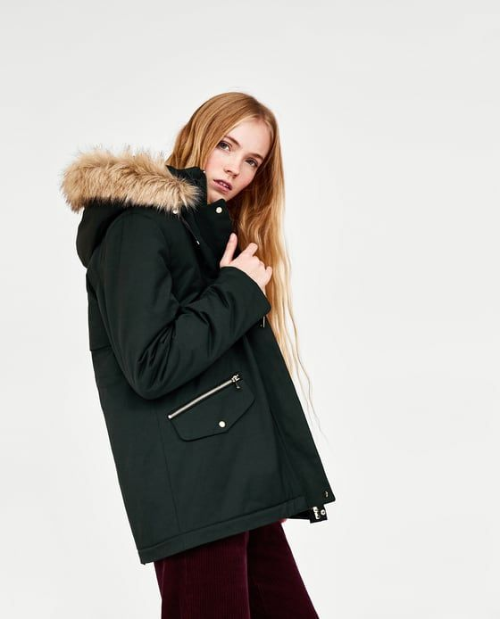 details for hot product usa cheap sale Image 4 of WATERPROOF PARKA WITH FAUX FUR HOOD from Zara ...
