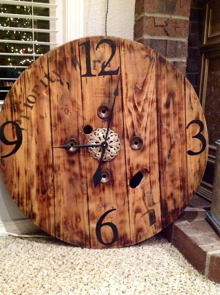 Industrial Wire Spool Clock Hand Painted And Refinished