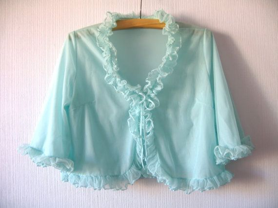 1960's Vintage Mint Green Bed Jacket Pale Green by VintageDreamBox