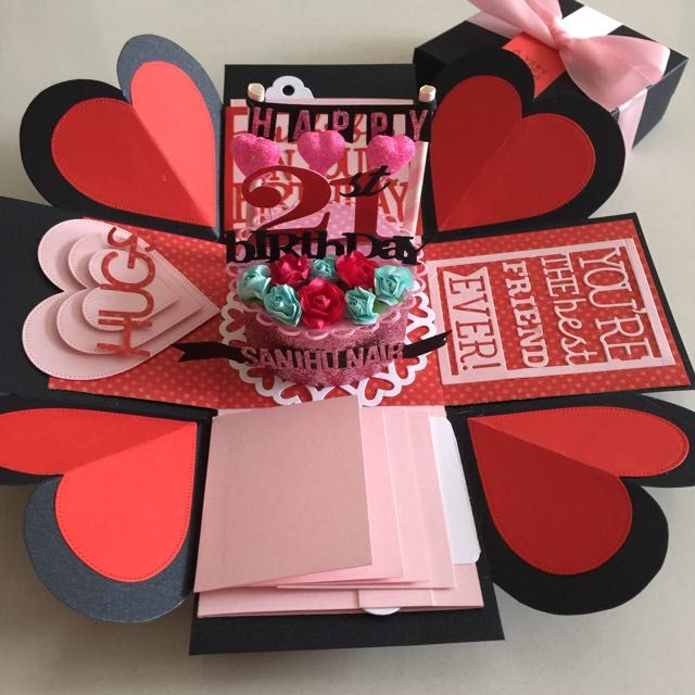 Explosion Box With Cake, 4 Waterfall In Black , Red & Pink on Carousell