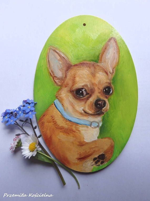 Chihuahua Welcome sign Dog portrait Hand painted on wooden #Chihuahuaportrait #canisArtStudio, #dogportrait