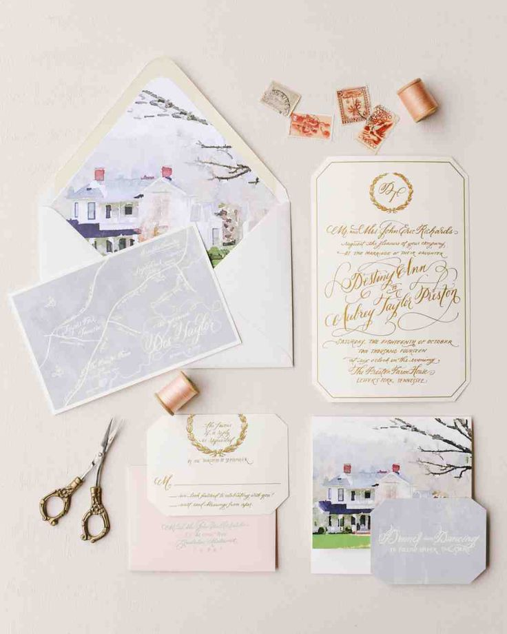 32 Dreamy Watercolor Wedding Ideas | Martha Stewart Weddings - This couple had their calligrapher, Natalie Chang, create a watercolor illustration of the venue on their invitation, which also happened to be the groom's family farm.
