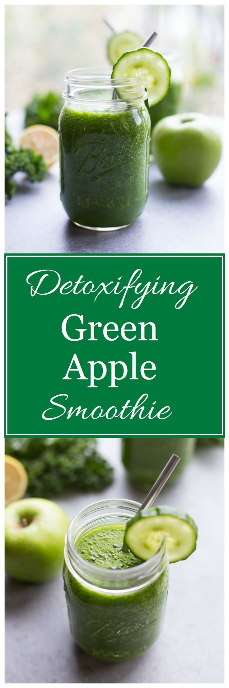 Detoxifying Green Apple Smoothie- packed full of healthy nutrients and cleansing fiber to make you glow from the inside out! #detox