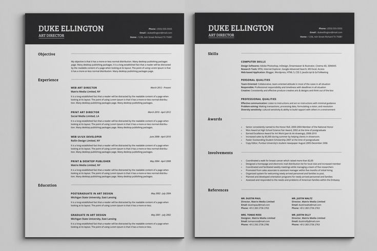 Two Pages Classic Resume Cv Template Priya Pinterest