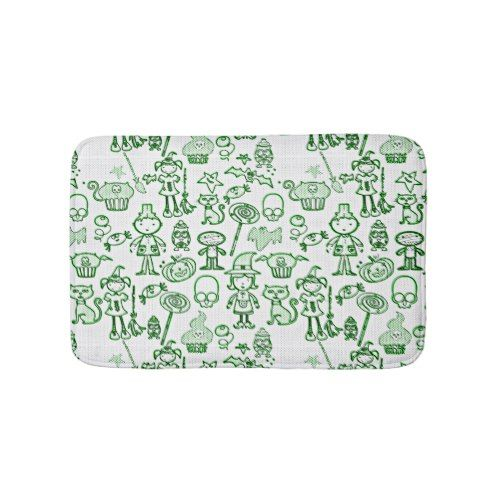 Halloween Fun Green Bath Mat
