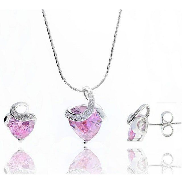 Set cercei si colier inima borealy heart jewelry set