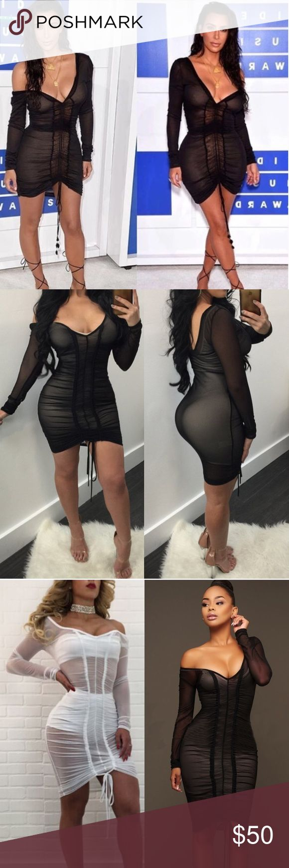 See Through Black Dress 🌶 Long Sleeve Bodycon See Through Evening Party Dress  * 100% Brand New and High Quality! * Color: Black * Material:95%polyamide 5%spandex * Not including the inside vest and shorts , this is see-through  * Kim Kardashian's Latest See Through Dress * Size: Medium (true to size) Dresses