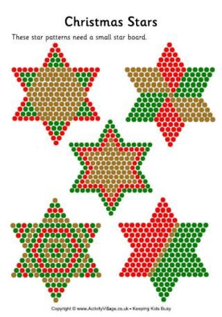 Christmas stars perler fuse bead pattern