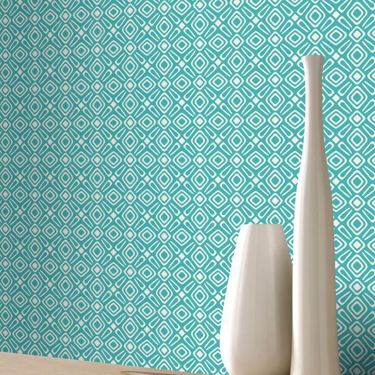 Rasch Retro/Geometric Teal Wallpaper - 277227