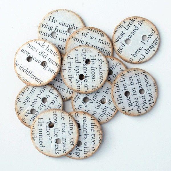 12 Amazing Book Crafts to Try | Mabey She Made It Bottoni ricoperti con pagine libro.