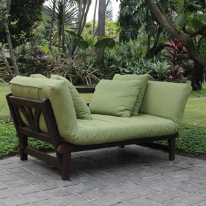 $299 sofa converts to day bed Studio Converting Outdoor Sofa, Brown with Green Cushions