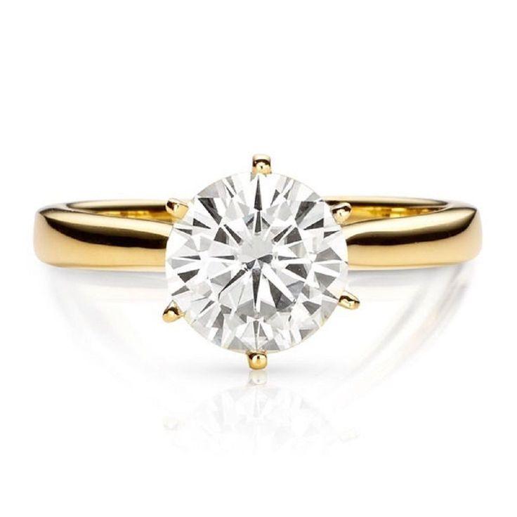 14k Yellow Gold 1.90 ct Round Diamond Cut Anniversary Wedding Women Ring #GoldJewellery17 #Solitaire