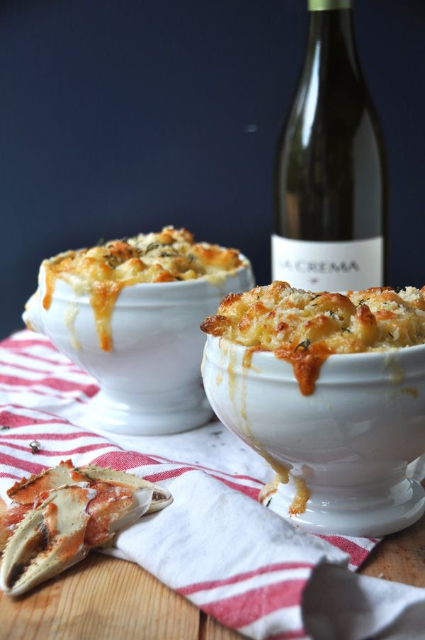 Can you imagine anything better than sinfully delicious Dungeness Crab Mac N Cheese and a glass of Chardonnay?