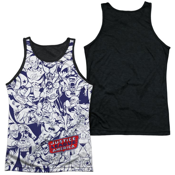 DC/JUSTICE ALL AROUND-ADULT POLY TANK TOP BLACK BACK-WHITE-SM