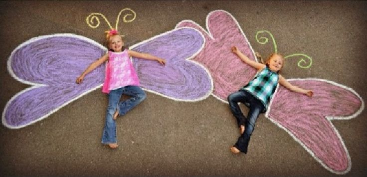 Sidewalk chalk art creations.
