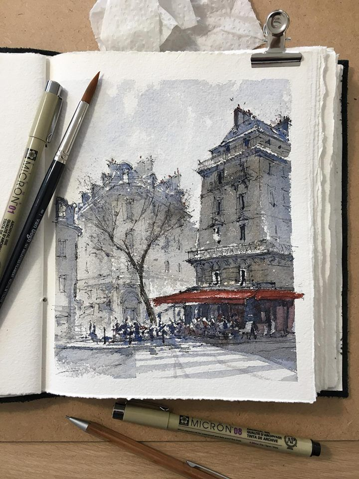 Busy Cafe In Paris By Alex Hillkurtz Via Urban Sketchers On Fb