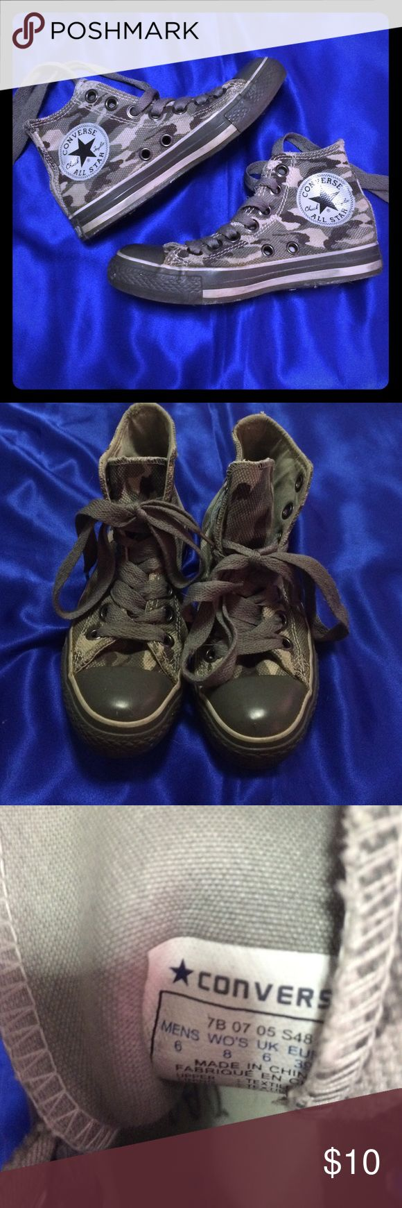 Grey Camo Converse!!! SALE!!! Grey Camo Converse Size 8 in Women .. Men size 6 in good condition.. You can just change shoe laces Converse Shoes Sneakers
