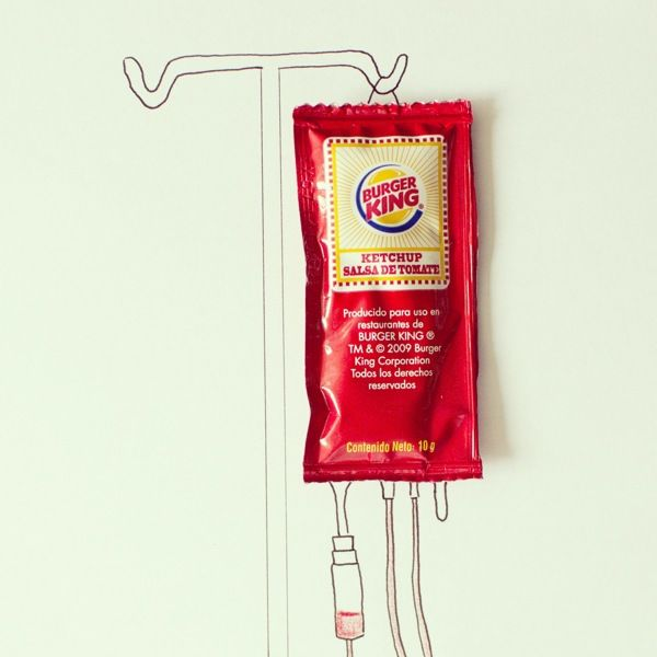 Burger King to the rescue.....Ordinary Objects Cleverly Interact With Simple Line Drawings. #Javier Perez.