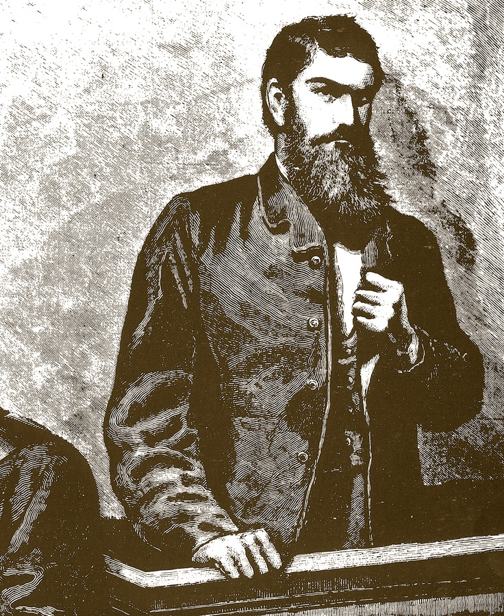 In this engraving based on a watercolour by Julian Ashton, during the Petty Sessions hearing in Beechworth, Ned Kelly supports his crippled left arm by gripping his lapel while resting a shot-mauled hand on the dock.