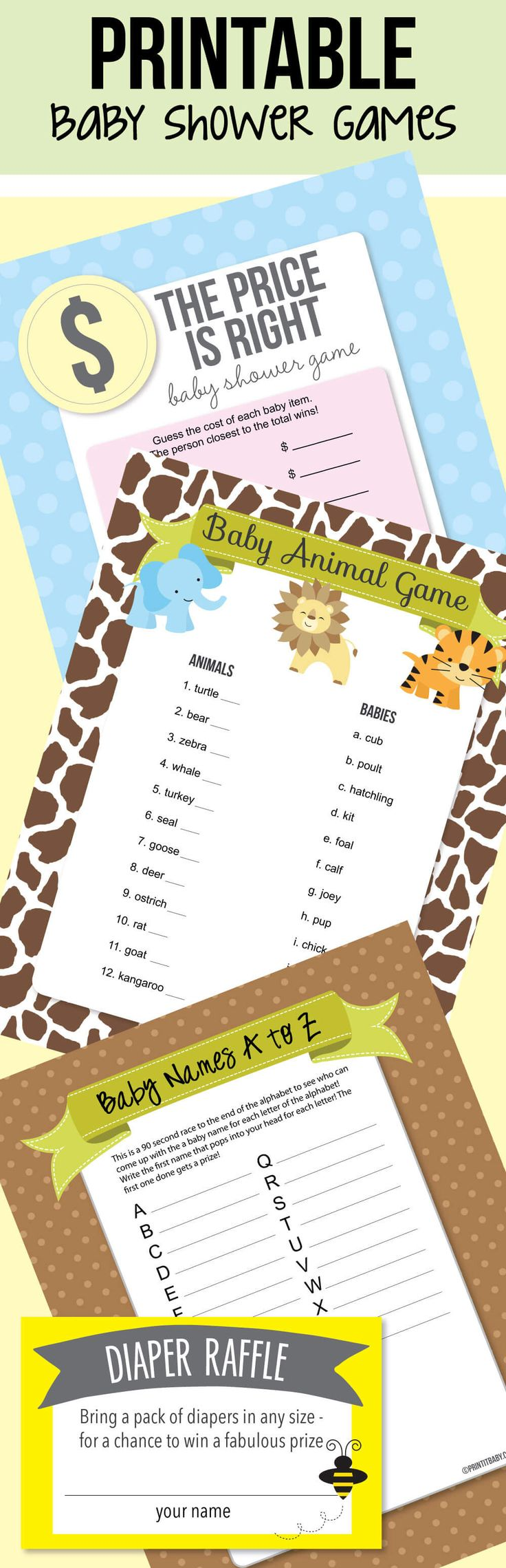 The best Printable Baby Shower Games - coed baby shower games, diaper raffle, word scramble, baby shower bingo...