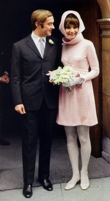 Audrey Hepburn in pink Givenchy on her wedding day