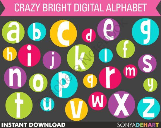 $ Digital Alphabet Crazy Bright Circles Clip Art from SonyaDeHartDesign on TeachersNotebook.com