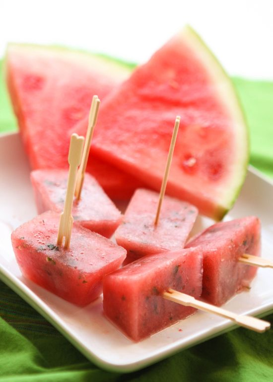 Minted watermelon popsicles