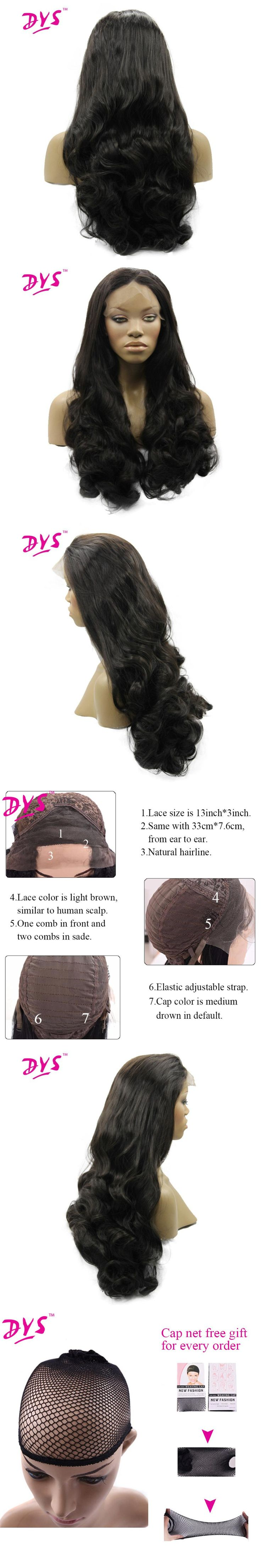 Deyngs Long Loose Wave Synthetic Lace Front Wigs For Black Women Natural Black Brazilian High Temperature Fiber Lace Hairstyle