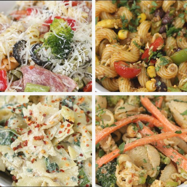 Here are four different types of pasta salad to make this season.   Here Are Four Ways You Can Make Bomb Pasta Salad