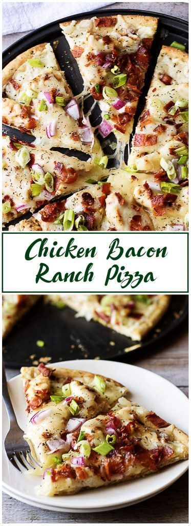 A crave-worthy chicken bacon ranch pizza that's sure to be a hit! It's loaded with savory chicken, smoky bacon, and creamy ranch dressing. via @berlyskitchen #bacon #pizza #ranch