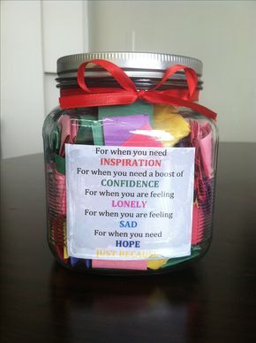 A great gift idea! Get a bunch of quotes and color code them based on what they are about. Mod podge a key on the inside of the mason jar, fold the quotes and put them in. Finally, top it off with a cute ribbon and any other decorations you want :) Your friend is sure to love it!! -DK