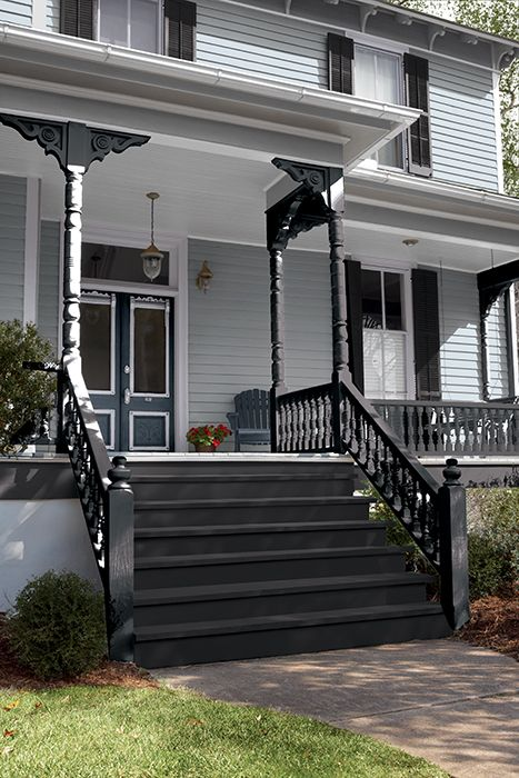 Learn how to add a touch of the 2018 Color Of The Year (Black Magic) to your exterior and interior wooden railings to truly give your home a touch of class and sophistication. This is gorgeous, Must Try It!