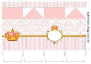 Corona Dorada en Fondo Rosa: Cajas para Imprimir Gratis.
