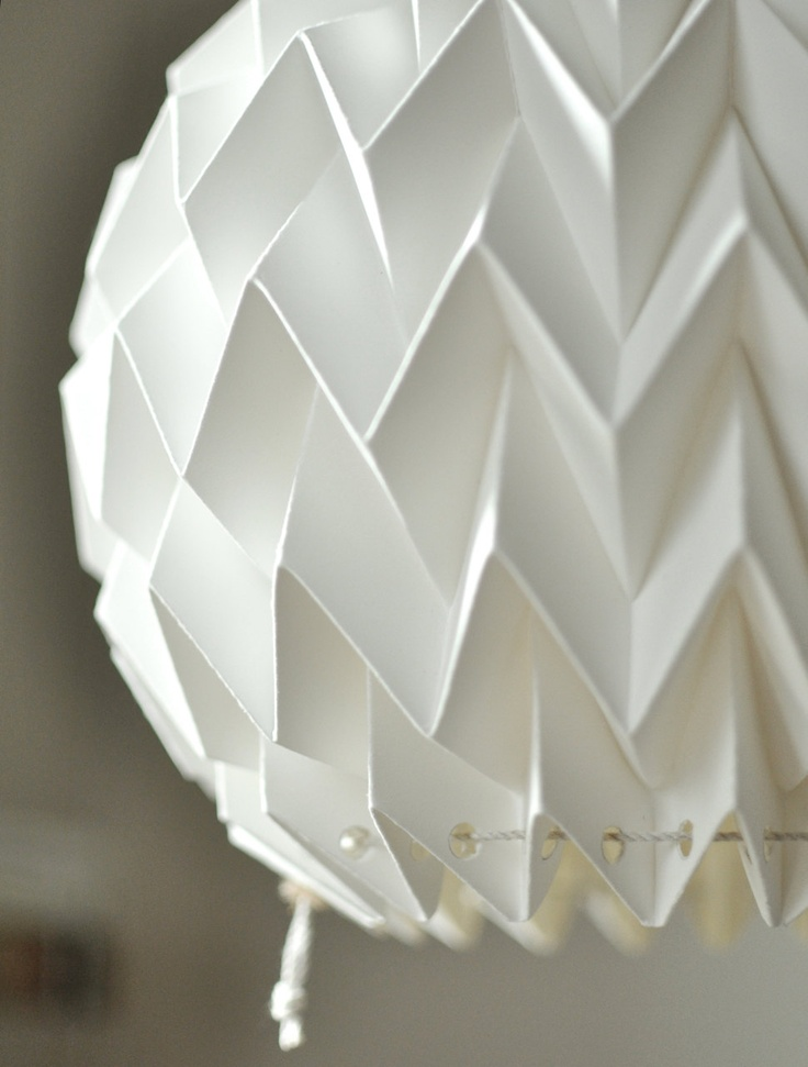 Origami paper lamp shade lantern bubble etsy folded for How to make paper lamp step by step