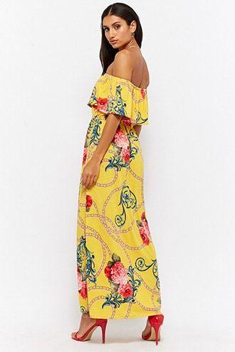 9d82a6428966  26.0 - Chain Link   Floral Off-the-Shoulder Maxi Dress - - labeltail