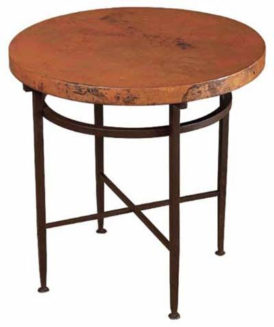 Round Copper Side Table With Variations Of Rich Colors, Shallow Hammered  Surface, Rounded Corners And Edge Treatments, On Matte Black Finished Metal  Base ...
