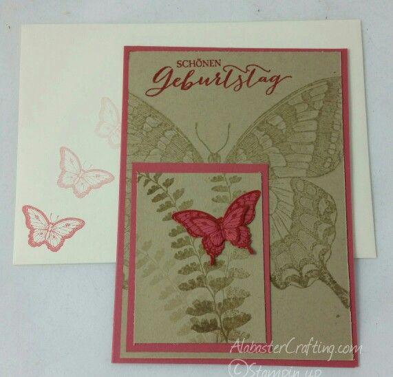 Geburtstagskarte / birthday card   Stampin up   Stempelset/stamp set:  Swallowtail, Papillion Potpourri,   Schmetterlingsgruß/Butterfly Basic (german)  Stanze/Punch:  Eleganter Schmetterling/Elegant Butterfly,  Mini - Schmetterling/Bitty Butterfly,  Farben/Colours:  Morgenrot / Primrose Petals,   Savanne / Crumb Cake