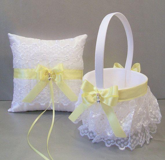 Light Yellow Wedding Bridal Flower Girl Basket by evertonbridal, $40.00