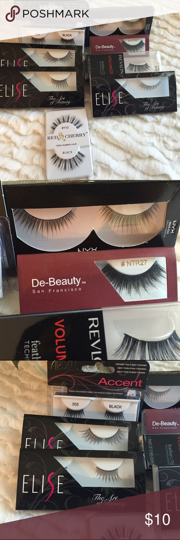 8 pairs of lashes Brands: Elise, NYX, Ardell, Revlon, De-Beauty, Red Cherry. 3 accents lashes, 4 full strips lashes, 1 lower lashes. Ardell Makeup False Eyelashes